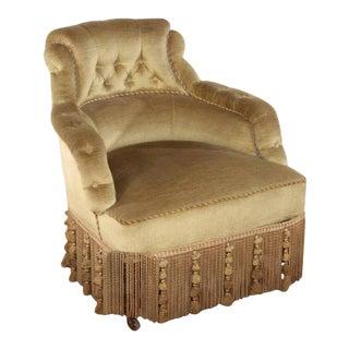 1880s French Napoleon III Green Velvet Reading Chair
