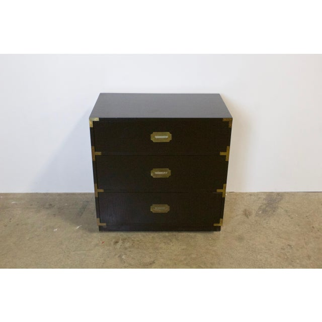 Brass Black Lacquered Three Drawer Campaign Chest For Sale - Image 7 of 12