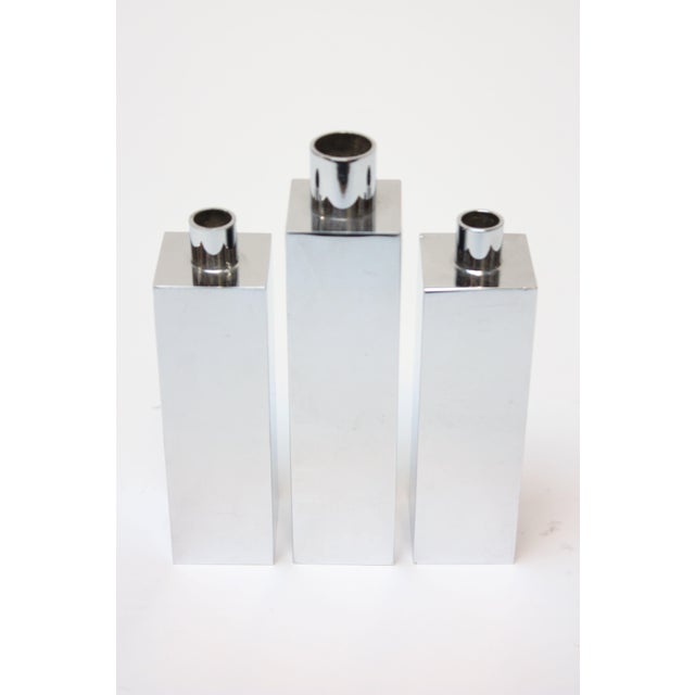 Hans-Agne Jakobsson Swedish Chrome-Plated Candle Holders - Set of 3 For Sale - Image 11 of 11