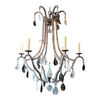 Vintage Mid-century Modern French Metal & Rock Crystal Chandelier