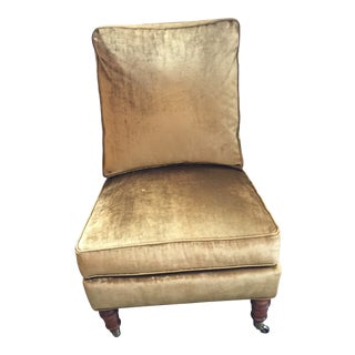 Lillian August Gold Velvet Upholstered Slipper Chair For Sale