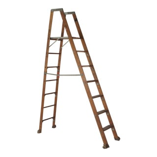 1920s Industrial Folding Ladder With Standing Platform For Sale