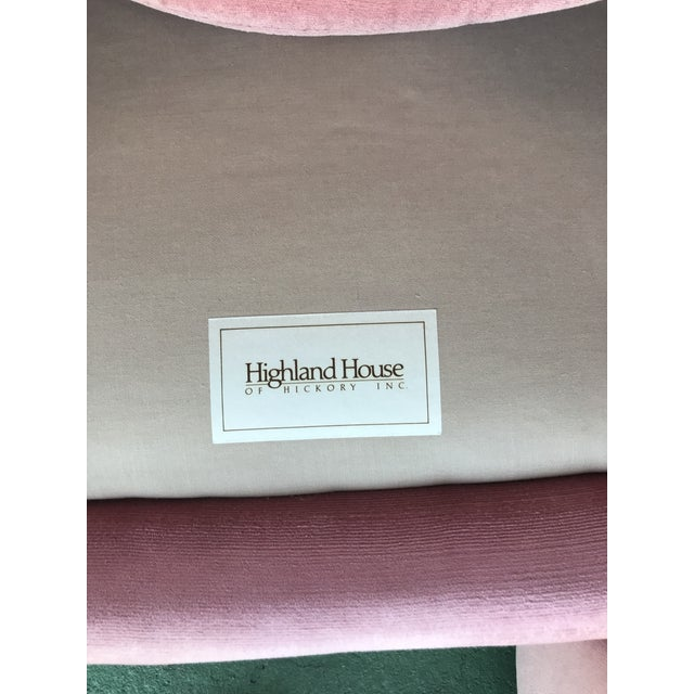 Highland House Hollywood Regency Pink Pair Chairs & Ottoman For Sale - Image 12 of 13