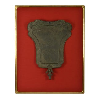 Framed Chinese Bronze Fan-Shaped Temple Standard For Sale