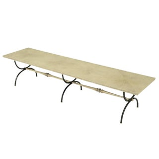 Tomlinson Driftwood Glazed Coffee Table with Triple-Curule Forged Iron Base For Sale