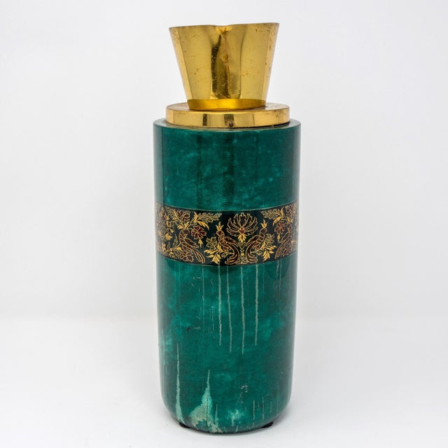Metal Italian Green Leather and Brass Decanter by Aldo Tura for Macabo For Sale - Image 7 of 12