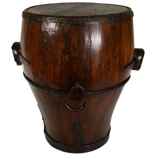 Antique Chinese Handmade Wooden Drum Shaped Grain Basket from the 19th Century For Sale