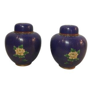 Vintage Mid Century Lapis Blue Floral Cherry Blossom Pattern Cloisonné Ginger Jars - a Pair For Sale