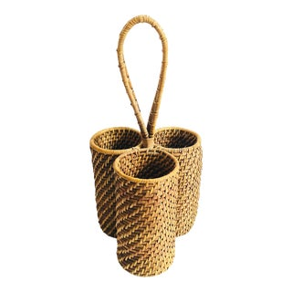 Vintage Coil Basket Wine Bottle Carrier For Sale