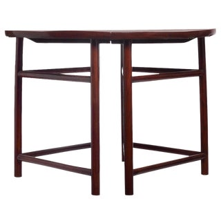 Pair of Antique Qing Dynasty Elmwood Demilune Tables from China, 19th Century For Sale