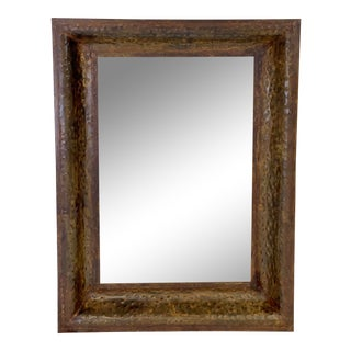 Late 20th Century Vintage Antiqued Hammered Copper Mirror For Sale