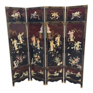 Chinese Export Four Panel Coromandel Folding Screen For Sale