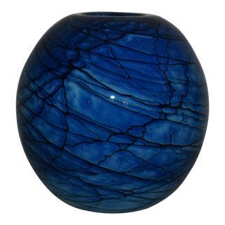 1980 Nourot Art Glass Studio Blue Sphere Vase, Signed Dll David Lindsay Benicia California For Sale