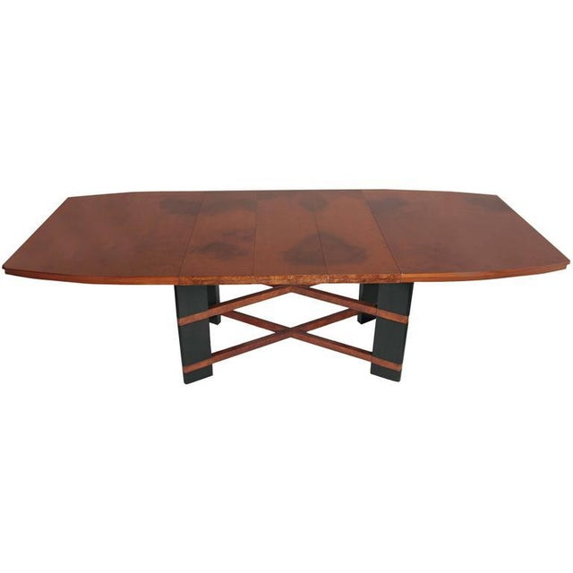 Art Deco Hastings Dining Table / Chairs Double X-Base Teague / Deskey Very rare example of a massive Art Deco extension...