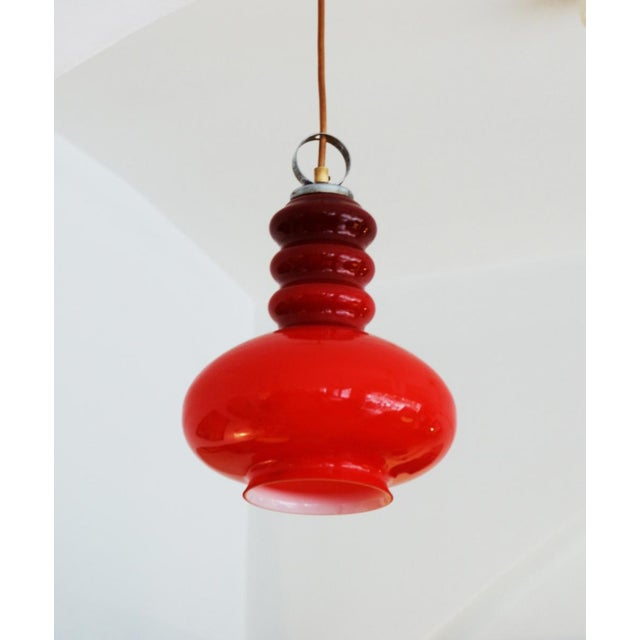 Red Midcentury hanging lamp made of glass & steel For Sale - Image 8 of 11
