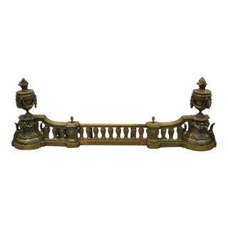 Late 19th Century Antique French Louis XVI Style Bronze Flame Urn Fireplace Andirons & Fender For Sale