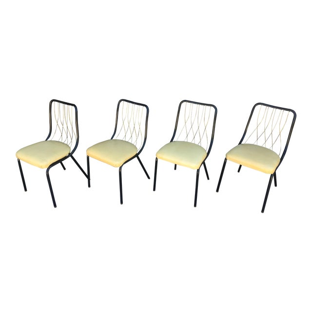 Mid-Century Black & Brass Chairs - Set of 4 For Sale