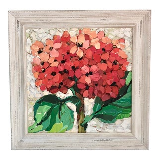 Framed Red Hydrangea Painting Collage For Sale