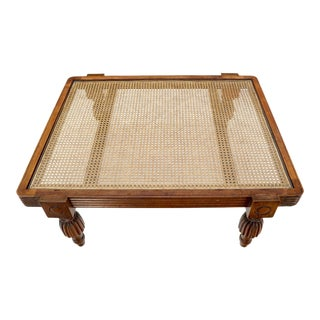 French Colonial Spanish Style Wide Rectangle Coffee Table Cane Top Fluted Legs For Sale