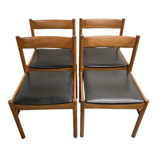 1970s Vintage Danish Teak Dinning Chairs - Set of 4 For Sale