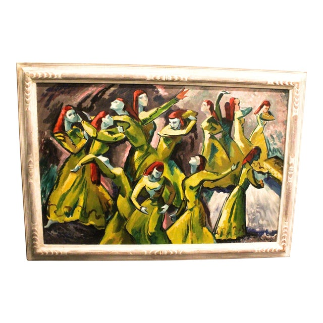 Vintage Mid-Century Frederick Buchholz Maelstrom Dancers Painting For Sale