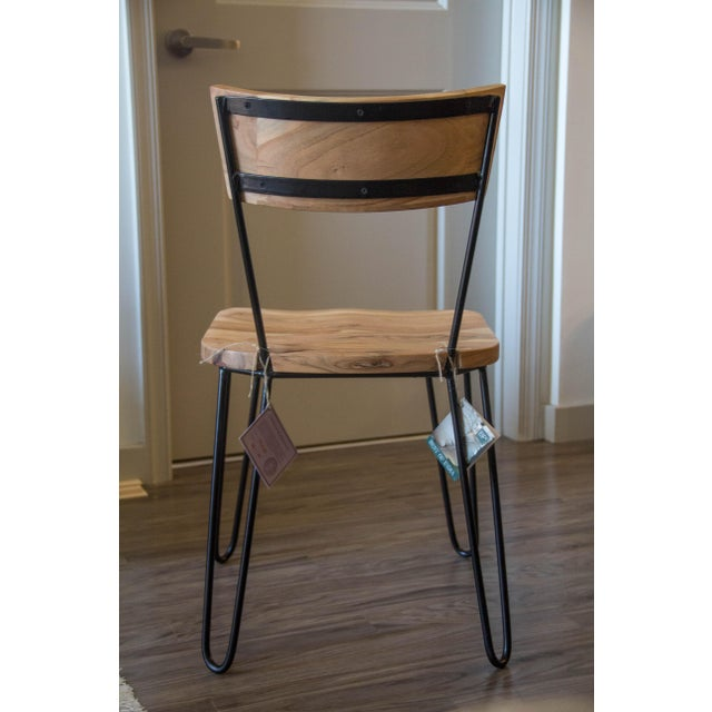 Handcrafted Acacia Wood & Iron Chairs - Set of 4 - Image 4 of 7