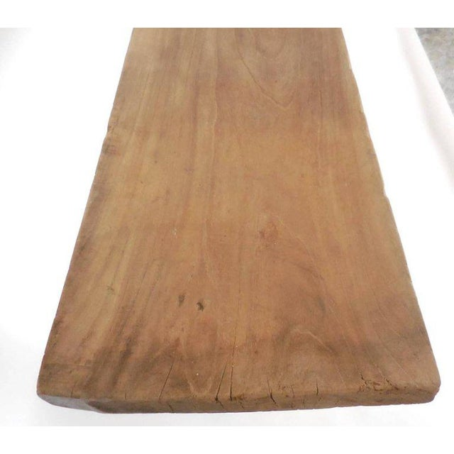 19th century Japanese one wide board atop replaced later turned legs. All finished in a bleached natural light wood....