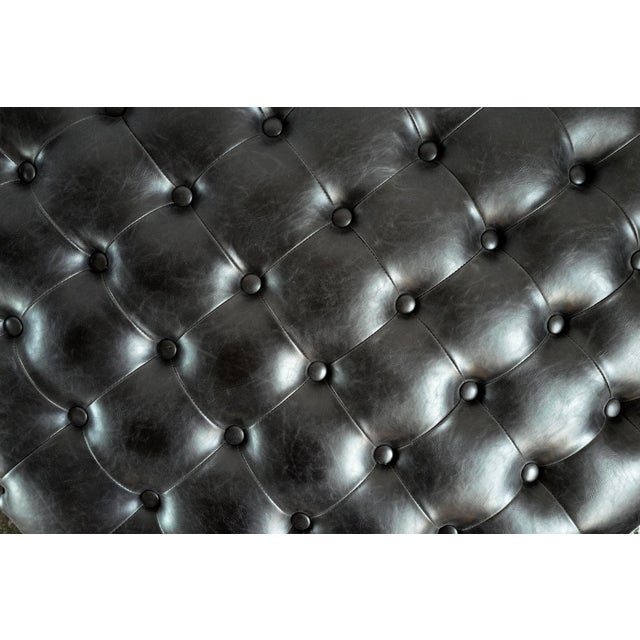 2010s Tufted Leather Round Ottoman For Sale - Image 5 of 6