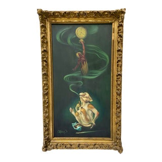 Modern Surrealist Smoking Monkey Oil Painting by Chuck McPherson For Sale