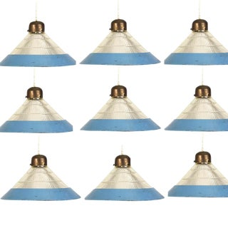 Set of 9 Industrial Hanging Lamps, c. 1960