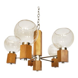 Mid Century Modern Danish Teak Wood and Chrome Chandelier For Sale