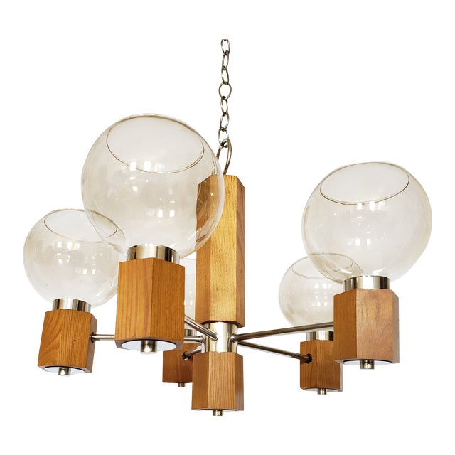 Mid Century Modern Danish Teak Wood and Chrome Chandelier For Sale