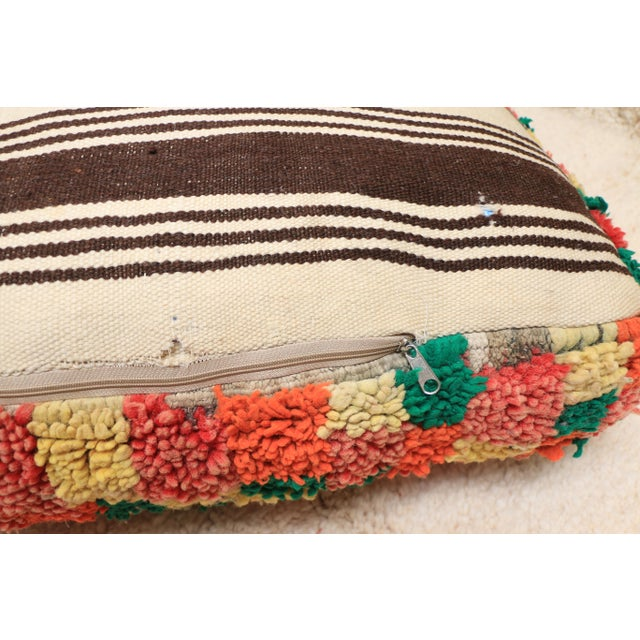 Moroccan Colorful Unstuffed Pouf Cover For Sale - Image 9 of 11
