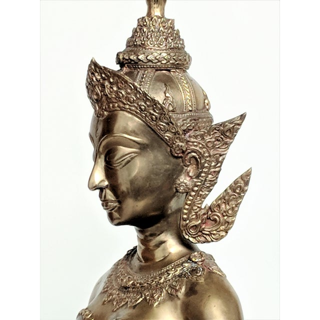 Thai Goddess Brass Sculpture For Sale In Miami - Image 6 of 13