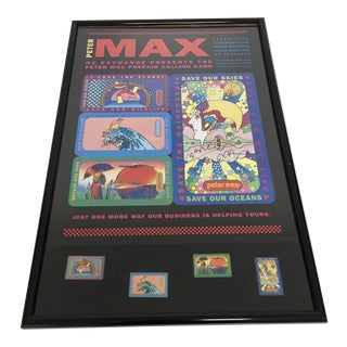Signed Peter Max Advertisement for Ge Exchange Print For Sale