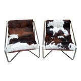 Image of Mid Century Modern Italian Chrome Tubular Framed Scoop Sling Chairs - A Pair For Sale