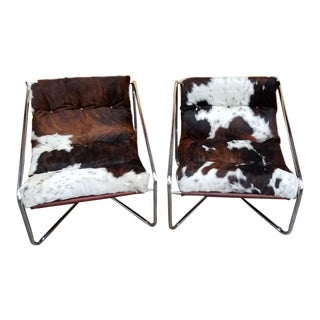 Mid Century Modern Italian Chrome Tubular Framed Scoop Sling Chairs - A Pair For Sale