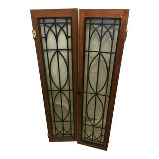 Old Leaded Windows/ Doors Pine Frame - a Pair