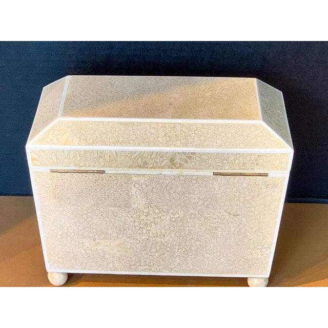 Paint Lacquered Shell and Bone Tapered Sarcophagus Box, by Maitland- Smith For Sale - Image 7 of 13