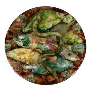 19th Century Majolica Palissy Portuguese Fish & Eel Wall Platter by Jose A. Cunha For Sale