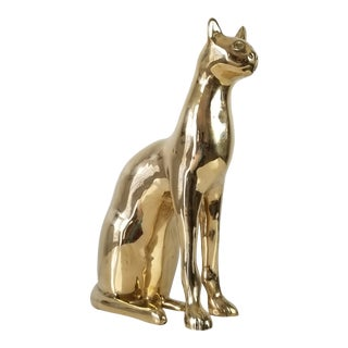 Vintage Solid Brass Cat Sculpture For Sale