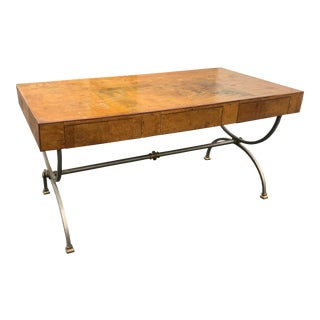 1970s Flush Front Burled Elm Campaign Desk by Maison Jansen For Sale