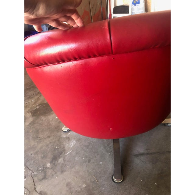1970s Vintage Red Vinyl Swivel Barrel Chair For Sale - Image 4 of 8