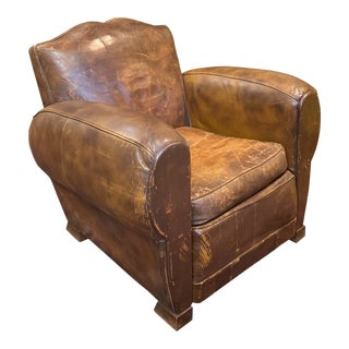 1930s Vintage French Moustache Back Leather Club Chair For Sale