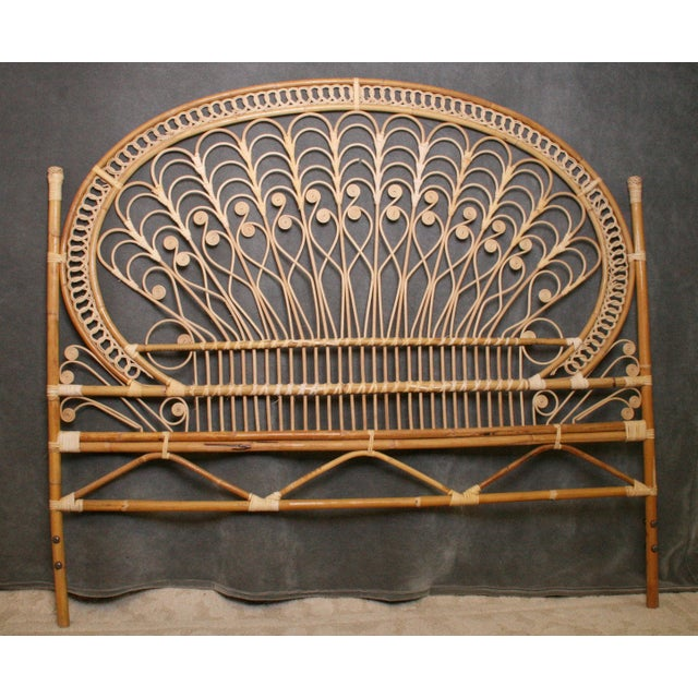 Boho Chic Wicker Peacock Headboard For Sale - Image 6 of 11