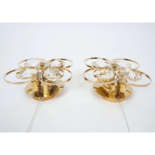 1960s Gilded Brass Crystal Glass Bakalowits Sconces, Austria 1960 For Sale - Image 5 of 9