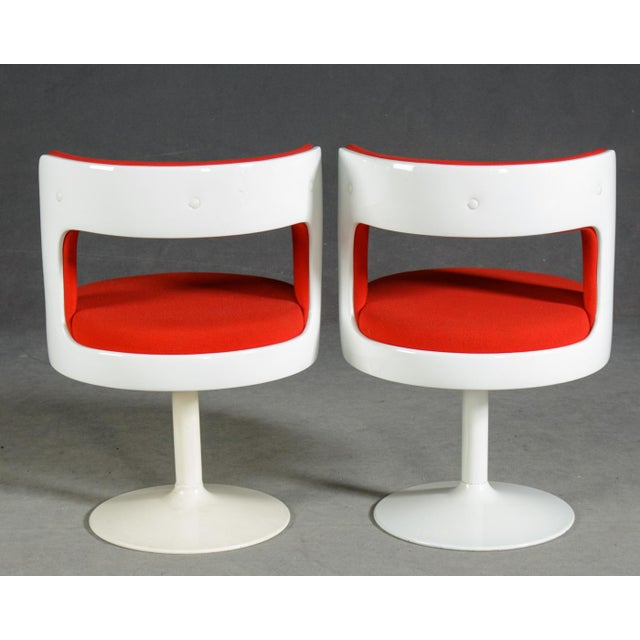 Two easy chairs, 1970s, Wohl Asko, Finland Probably designed by Esko Pajamies for Asko, Finland. Plastic seat shafts,...