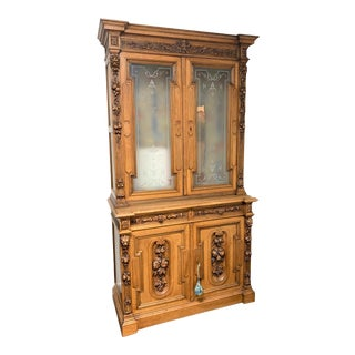 19th Century French Walnut & Etched Glass Bookcase Cabinet For Sale