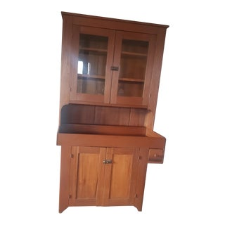 1900s Antique Stepback With Dry Sink For Sale