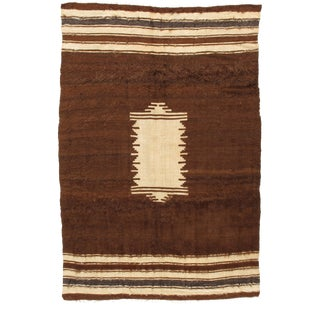 Vintage Turkish Brown Mohair Rug - 4′7″ × 6′8″ For Sale